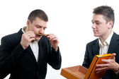 Young businessmen cigar — Stock Photo