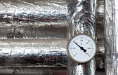 Thermometer isolated pipes — Stock Photo
