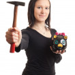 Young woman piggy bank hammer — Stock Photo