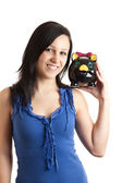 Young woman piggy bank shoulder — Stock Photo