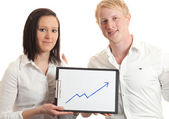 Young businesspeople presenting chart closeup — Stock Photo