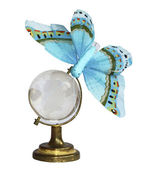 The blue butterfly on the globe — Stock Photo