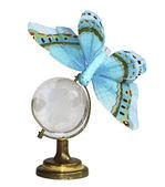 A borboleta azul na globo — Fotografia Stock