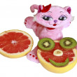 Pink toy cat c grapefruit ridiculous mug — Stock Photo #5222785