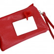 Stock Photo: A small red female bag with white cut-away