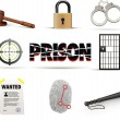 Prison & crime icon set — Stock Vector