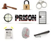 Prison & crime icon set — Stockvector