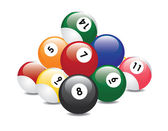 Billiard balls pyramid — Stock Vector