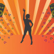 Royalty-Free Stock Imagen vectorial: Silhouette of dancing girl at disco