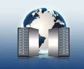 Servers,global database — Stock Photo