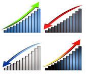 Increase decrease graphs — Stock Photo