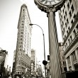 The wide-angle view of Flatiron building in New York - 图库照片
