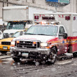 Ambulance car in blizzard — Stock Photo