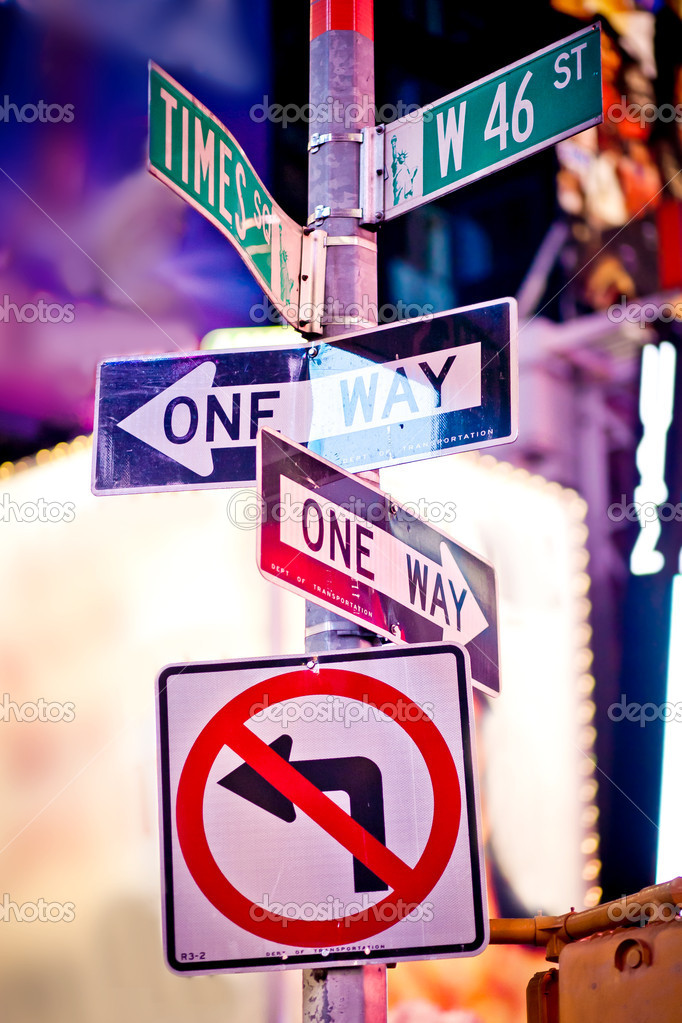 New York traffic signs on Times square — Stock Photo #4791662