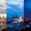 Aerial Moscow city collage at evening and night  — Lizenzfreies Foto