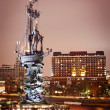 Monument to Peter the Great in Moscow, night scene — Stock Photo