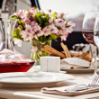 Fine restaurant setting - Stock Photo