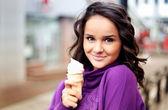 Girl with icecream — Stock Photo