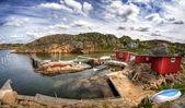 типичный небольшой шведской рыбацкая деревня — Стоковое фото