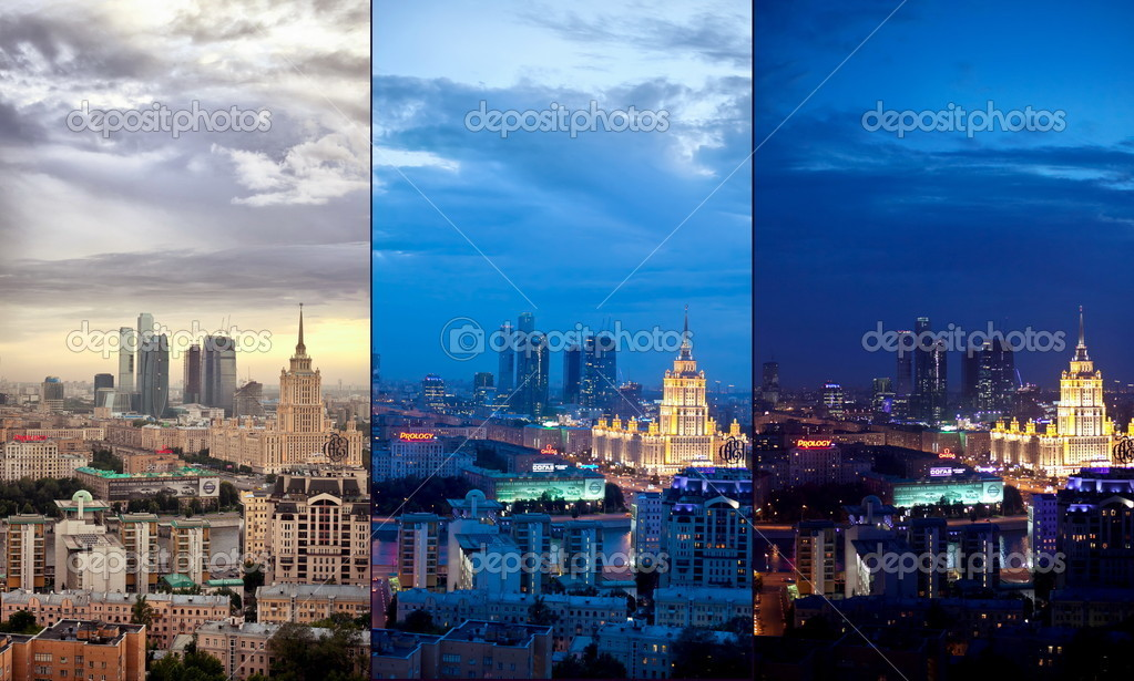 Aerial Moscow city collage at evening and night including Moscow-city, Arbat street, hotel Ukraine and other landmarks — Stock Photo #5372742