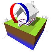 Air source heat pump diagram — Stock Vector