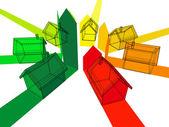 Seven houses — Stock Vector