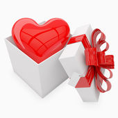 Valentine's gift with heart inside — Stock Photo