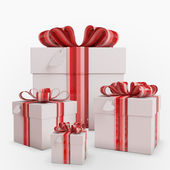 Gift boxes with Bow & heart tag — Stock Photo