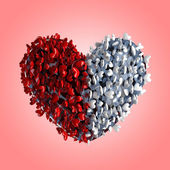 Heart of hearts red and white — Stock Photo