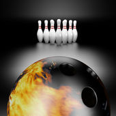 Fire bowling ball — Stock Photo