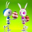 Easter bunny robots — Stock Photo