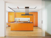 Interior of modern orange kitchen — Stock Photo
