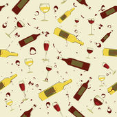 Seamless background wine bottles — Stock Vector