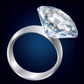 Diamond Shiny bright ring. Vector — Stock Vector