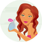 Girl with perfumery — Stock Vector
