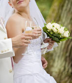 Bride and fiance are holding wedding glass — Stock Photo