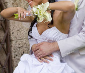 Fiance inarm happy bride — Stock Photo