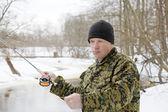 Winter fly-fishing — Stock Photo