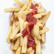 French fries with ketchup, Pommes Frites — Stock Photo #4834155