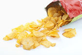 Bag of potatoe chips, Kartoffelchips — Stock Photo