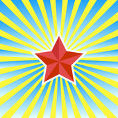 Red star on a yellow-blue background — Stock Vector