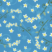 Seamless spring floral pattern on a blue background — Stock Vector