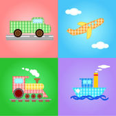 Funny images of four types of transport - editable vector — Stock Vector