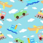Seamless pattern funny images of four types of transport - vector — Stock Vector