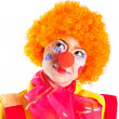 Stock Photo: Girl dressed as clown is looking up