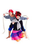Two girls dressed as pirates — Stock Photo