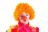Girl clown in colorful costume — Stock Photo