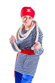 Girl clown costume pirate with a rope — Stock Photo