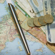 Royalty-Free Stock Photo: Pen and euro on the map