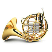 Gold French horn isolated — Stock Photo